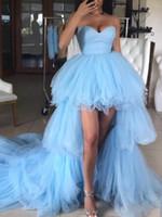 Платья для выпускного вечера 2020 Вечерние Сексуальные Небесно-Голубые Плиссированные юбки с глубоким V-образным вырезом Арабский Дубай Формальные платья для выпускного