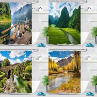 Modern 3D Printing Natural Scenery Shower Curtain Green Plan...