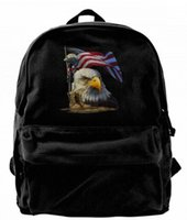 Salute Our Flag American Bald Eagle Canvas Shoulder Backpack...