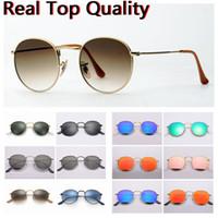 Erkek Moda Güneş Gözlüğü Yuvarlak Metal Sunglass Kadın Adam Vintage Güneş Gözlükleri Mavi Ayna UV Koruma Cam Lensler Ile Deri Kılıf