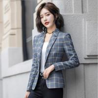 Hohe Qualität Womens Plaid Jacke mit Tasche Büro Dame Stil Blazer Frauen Single Button Mantel Frau Kurze Blazer Mujer Femme