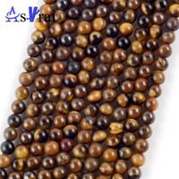 """Perline forma naturale Yellow Tiger Eye pietra rotonda per monili che fanno tre millimetri del distanziatore allentato perline fai da te bracciali fatti a mano gioielli 15"""""""