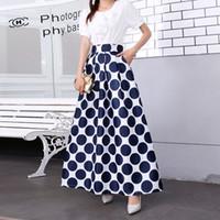 Polka Dot Faldas largas para mujer Falda larga Verano Faldas hasta el tobillo 2019 Nueva moda Tallas grandes S-XXXL Negro Azul Rojo Primavera Otoño Vestidos