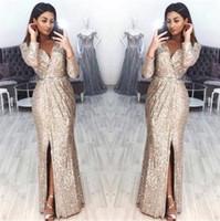 Mousseux manches longues robes de soirée Paillettes 2020 V Neck Plis haut de Split longueur de plancher Robes de bal formel Party BC0815