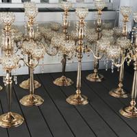 Newcrystal Candle Title Casamento Candelabra Centerpiece Center Center Table Candlestick Lanterna Stand Party Decor Prata / Ouro Decoração de Decoração de Casa1124