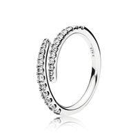 Klare CZ-Diamant-Shooting Star Ring Set Original Kasten für Pandora 925 Sterlingsilber-Frauen-Mädchen-Hochzeit Meteor geöffnete Ringe
