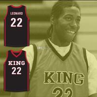 Kawhi Leonard # 22 Martin Luther King High School Wolves Basquete Jersey Branco Vermelho Vermelho Retro Retro Masculino Costume Número de Número de Nome do Nome