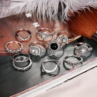 Argento Retro Argento antico Diamond Glass Moon Ring Set Retro Knuckle Ring Set per ragazza femminile Anelli impilati Set Hollow Carved