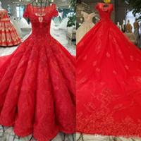 Gothic Red vestido de baile vestidos de casamento 2018 Cap manga Lace Applique espartilho Sweep trem de luxo vestidos de noiva Quinceanera vestido robe de mariée