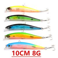 1pcs 5 cores 10 centímetros 8g Minnow Fishing Hooks anzóis 8 # gancho plástico rígido Iscas Lures Pesca Pesqueiro Acessórios V-98