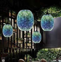 2020 현대 3D 다채로운 북유럽 별이 빛나는 하늘 매달려 유리 그늘 펜던트 램프 조명 E27 부엌 레스토랑 거실에 대 한 LED