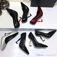 Femmes Talons Pompes Patents Cuir Robe De Mariage Chaussures Mesdames Sexy High-Heeled Chaussures High-Highed Pumps Pompes Métal Mode Talon Chaussures Femmes Chaussures 34-40-41