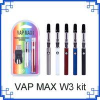 2021 VAP Max W3 Kiti 350 mAh Vertex Ön ısıtma VV Değişken Gerilim Pil 1.0 ML 510 Cam Kartuşlar USB Şarj Vape Kalem VS Çerezler Backwoods 0268132