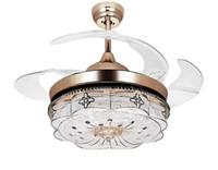 Невидимый Потолочные вентиляторы Гостиная Пульт дистанционного управления Вентилятор Свет Спальня Простой современный Выдвижной ремень LED Mute Электрический вентилятор Люстры MYY