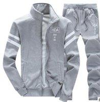 Erkek Eşofman Erkek Tasarımcı Sonbahar Kış Giysileri 2 adet Moda Giyim Seti Polar Ceket Uzun Düz Pantolon Sweatsular1