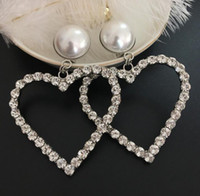 Luxury Fashion Women Earrings with Crystal Pearl Big Heart S...