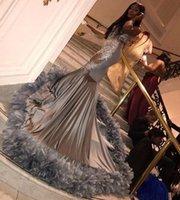 Argent dentelle perlée 2020 sirène Robes de bal avec des plumes manches filles noires robe de bal robe de soirée formelle Robes