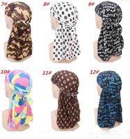 Fashion Camouflage Print Durag da uomo King's Durag Bandane da turbante Cuciture da esterno Uomini Durag Headwear Fascia per capelli Pirate Hat Accessori per capelli