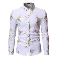 Mens Designer Dress Shirt Luxury Floral Printed Business Shirts Fashion Mens Lapel Neck Long Sleeves Tops