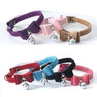 Katzenhalsband Sicherheit Elastic Bowtie Bell-Katzen-Kätzchen Kragen Velvet Bow Tie Kleine Hundehalsbänder für Katzen Pet Products