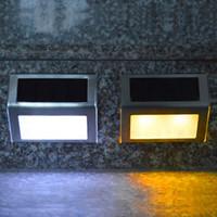 Toptan 3 LED Paslanmaz Çelik Açık Su geçirmez Güneş Işıklar Bahçe Yolu Merdiven Lambası LED Işıklar Güneş Paneli Duvar Lambası Merdiven Aydınlatma