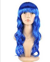 WIG Envío Gratis Mujeres Largo Rizado Peluca Cosplay Costume Party Fancy Dress Blue