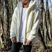 2020 i più nuovi del cappotto di inverno degli uomini con cappuccio Fluffy Autunno spessore caldo Fleece Jacket Cardigan solido casuale Moda Faux Fur Tops Outerwear