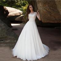 Элегантные простые короткие рукава аппликации кружева A-line свадебные платья 2020 скромные шифоновые свадебные платья плюс размер халат де Марие