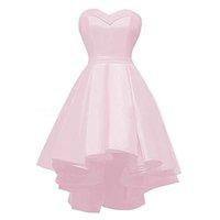 Eleganckie Satin Różowe Druhna Suknie poniżej 100 Sweetheart Sweetheart Tanie Maid of Honor Dresses z Draped Spódnicy Wysokich sukienek