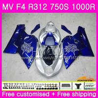 Kropp för MV Agusta F4 MV-F4 R312 750s 1000 R 750 1000cc 05 06 Kit 27HM.7 1000R 312 1078 1 + 1 MA MV F4 2005 2006 05 06 Fairing New White Blue