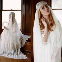 2019 Vintage Vestito da sposa musulmano con perline di applique di pizzo One Layer Custom Made FingerId Lunghezza velo per le donne Abito da sposa