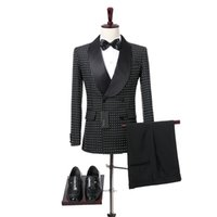 Schwarz Grid Tuch Männer Anzüge Schal Revers Zweireiher Botton Hochzeit Smoking Zweiteilige Blazer Jacke Hosen Foviva Stil 09010