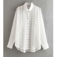 Nuevas mujeres moda punto cosido casual gasa blusa camisa mujeres manga larga chic blusas perspectiva blanco marimisa tops ls3725 t200212