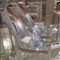 Çiçek Gerçek Deri kadın tasarımcı sandalet ile Top Sınıf Külkedisi Kristal Tasarımcı Ayakkabı Gelin elmas Düğün Ayakkabıları