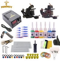 Tatuagem Kit Completed 6 Cores Tinta De Tatuagem Set 2 Máquinas Set Black Power Supply Permanent Make Up Profissional
