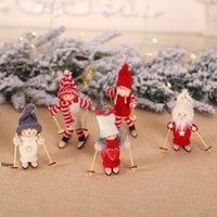 Мини рождественские куклы плюша дерево Подвеска Фигурка Xmas Санта-Клаус украшения лыжи деревянные игрушки куклы отель украшения LJJA3345-2