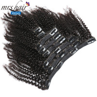 MRSHAIR 8pcs set Afro Kinky Curly Wave Human Hair Clip In Ha...