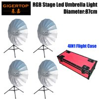 Lights & Lighting 4in1 Road Case Pack Rgb Led Umbrella Light Eye Catcher Rainbow Effect Dmx512 Control Easy Installation Diameter 87cm Cmy Color Moderate Price Stage Lighting Effect