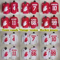Team Kanada Vintage Version Jerseys 99 Gretzky 4 Orr 66 mlemieux 7 Bourque 11 Messier 1o Hawerchuk CCM Hockey Jersey