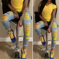 New street hip hop high waist ripped jeans for women fashion...