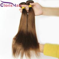 Coloré # 4 cheveux raides armure malaisienne cheveux vierges 3 Offres Bundles Pure Dark Brown Extensions de cheveux bon marché Brown Double Trame Vendors
