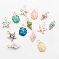 Yeni Alaşım Renkli Emaye Denizcilik Okyanus Denizyıldızı Shell Kabuklu Deniz Emaye Charms Gevşek Boncuk Fit For Bilezikler Kolyeler Küpeler