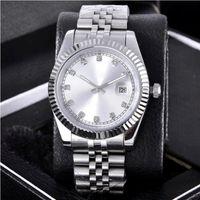 Mode Datum Uhren Silber Zifferblatt Edelstahl Diamant Automatische Armbanduhr Bewegung 2813 Valentinstag Beste Geschenk 36mm