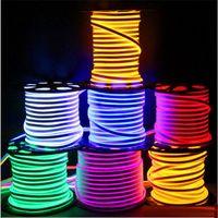 Недавно светодиодные полосы света водонепроницаемый IP65 гибкие светодиодные полосы SMD2835 120 светодиодов с обеих сторон светящиеся высокой яркой 8 цветов неоновый свет оптом 50 м +