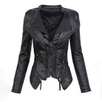 PU Leather Top Jacket Woman Long Sleeve Slim Zipper Fashion ...
