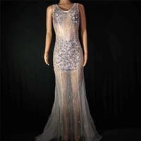 D87 Бальное платье вечернее платье красочный горный хрусталь длинное платье юбка Перспективные сценические костюмы выполняют одеть одежду dj наряды вечеринка шоу
