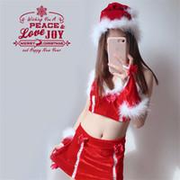 Lilicochan 7pcs belles filles Costumes de Noël Reindeer Cosplay sexy Femme de ménage Waitress Uniformes femmes robe rouge Set Vêtements
