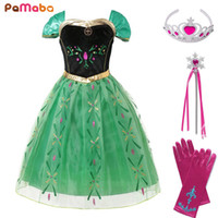 PaMaBa Little Girls Princess Anna Cosplay Costume Embroidery...