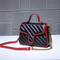 nuova borsa di spalla di cuoio di corrispondenza deluxe classico di trasporto libero globale migliore piccola borsa della catena del metallo di qualità 583571 formato 21cm 15.5cm 8cm