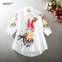Multi Style Embroidery Patchwork Women Shirt 2019 Fashion De...